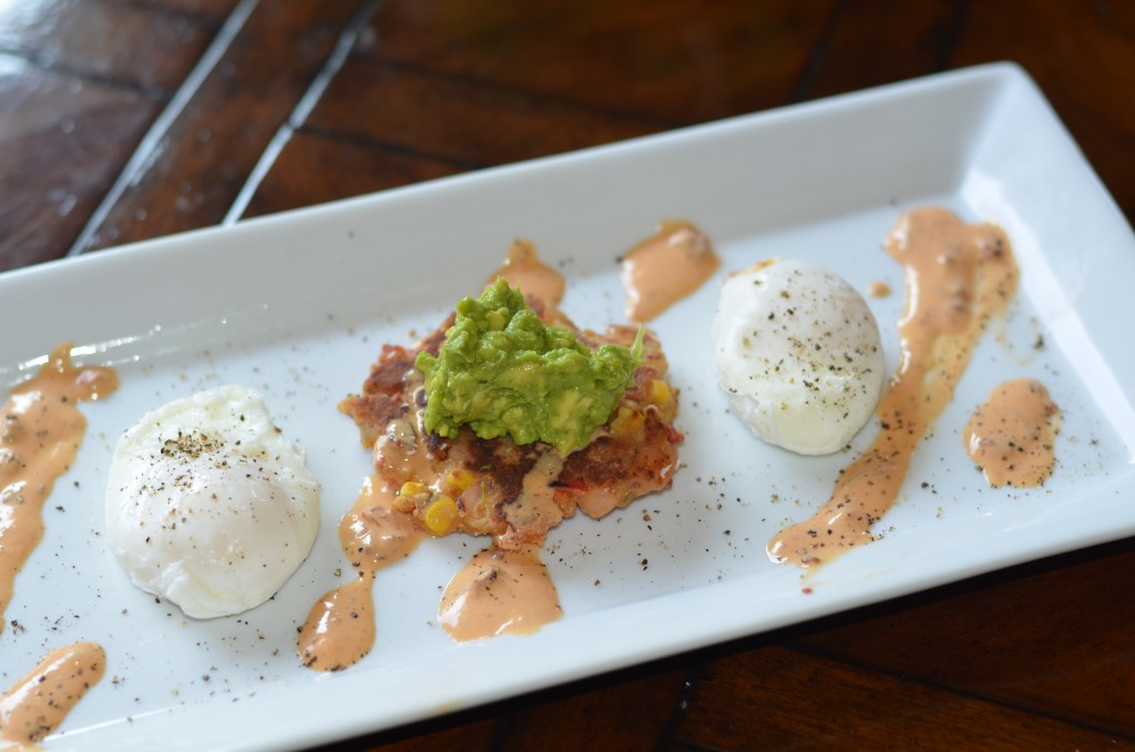 Shrimp Corn Cakes with Poached Eggs