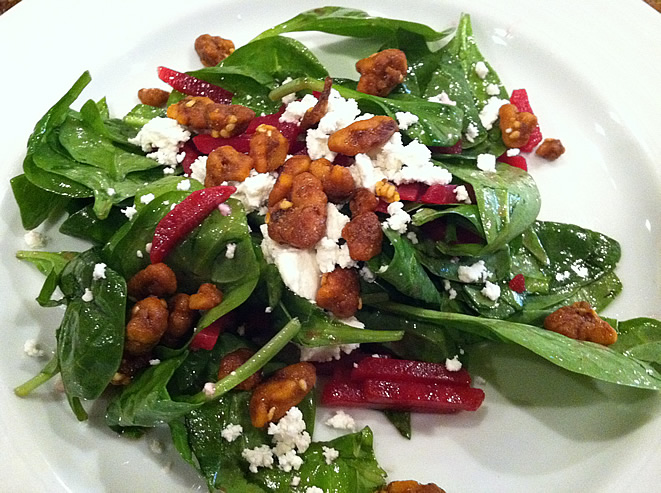 Red Beets & Goat Cheese Spinach Salad