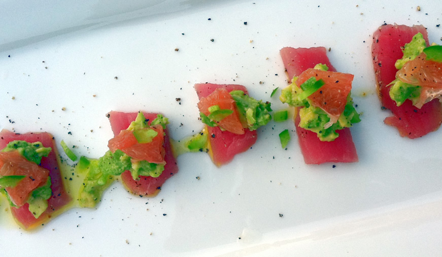 Spicy Ahi Sashimi with Avocado & Grapefruit