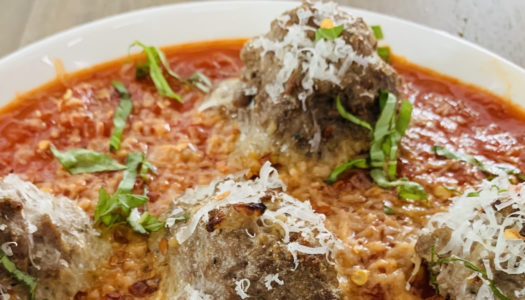 Lamb Meatballs with Marinara Sauce, Fresh Basil and Parmesan Cheese